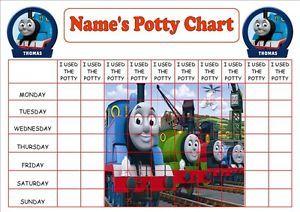 Personalised A4 Thomas Tank Engine Potty Toilet Reward Chart Stickers Certificat