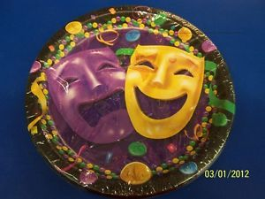 "Comedy Tragedy Masks Mardi Gras Holiday Party 10 5"" Paper Banquet Plates"