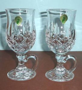 Waterford Lismore Irish Coffee Crystal Mugs Pair New