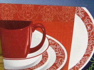 Corelle Bandhani 16 PC Dinnerware Set BNIB Red White Dinner Plate Bowl Mug