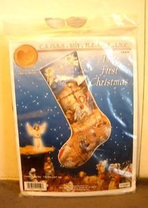The First Christmas Counted Cross Stitch Stocking Cross My Heart Kit by Melinda