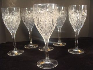 6 Nachtmann German Crystal Water Ice Tea Goblets Wine Stemware Glasses