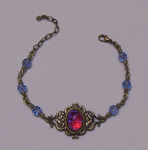 Antique Gold Filigree Dragon's Breath Glass Opal Crystal Bracelet Victorian