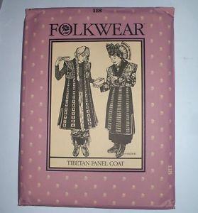 Vintage Uncut Folkwear Ethnic Costume Pattern 118 Tibetan Panel Coat