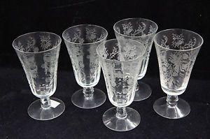 5 Etched Floral Design Crystal Stemware White Wine Champagne Flute Glasses