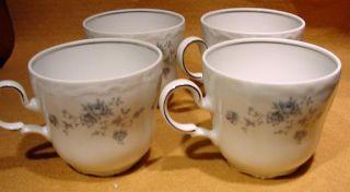 Vintage Set of 4 Johann Haviland Blue Garland Coffee Cups Bavaria Germany