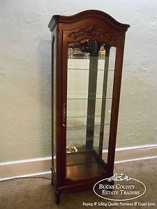 Jasper Louis XV Style Solid Cherry Beveled Glass Lighted Curio Display Cabinet
