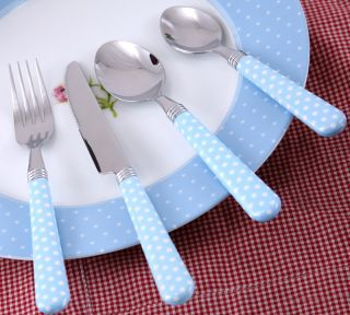 Katie Alice English Garden Blue Spot Shabby Chic 16 Piece Cutlery Set
