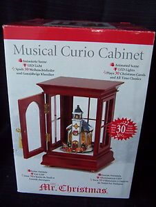 New Mr Christmas Musical Curio Cabinet Animated Church Scene Lights Musical