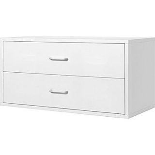 Foremost Hold'ems Modular Cube Storage System, White 15H x 30W x 15D 2 Drawer Cube