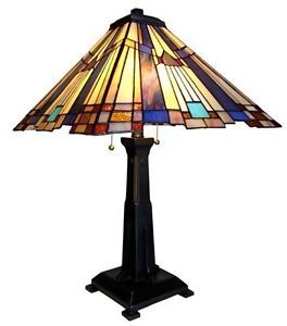 Colorful Mission Tiffany Style Stained Glass Table Desk Lamp