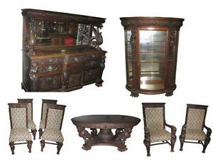 A J Johnson Sons Furniture Co Chicago Carved Oak Figural Diningroom Set