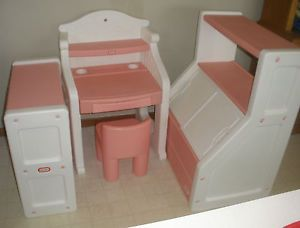 Little Tikes RARE Set Victorian Pink White Desk Toy Box And Bookshelf