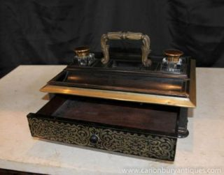French Antique Boulle Inlay Inkwell Desk Writing Set 1840