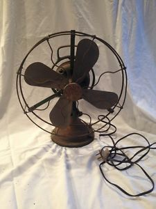 Vintage GE Brass Blade Oscillating Fan 3 Speed Loop Handle Green
