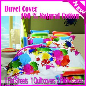New Double Size Graffiti Art Quilt Duvet Comforter Cover Bedding Set 100 Cotton