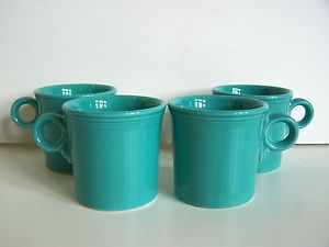 "Set of 4 Fiesta Ware ""Tom Jerry"" Coffee Mugs in Turquoise Contemporary Modern"