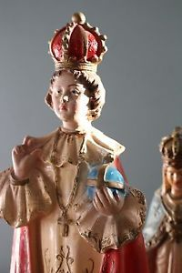 Antique French Pair of Chalkware Religious Figurines