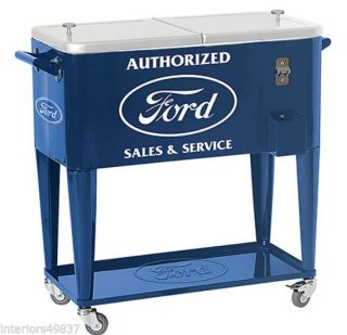 80 Quart Blue Ford Rolling Casters Cooler Outdoor Ice Chest Patio Deck Party
