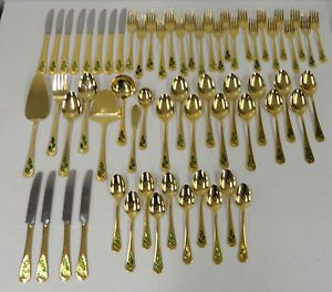 63 Pieces Holly Berry Gold Plated Stainless Flatware Set Christmas Holiday Japan