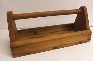 Primitive Antique Wood Tool Box Caddy Carrier Rustic Garden Tote Handle Utensil