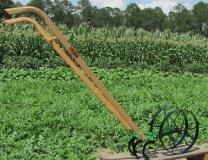 Hoss Tools Lil Double Garden Wheel Hoe Push Plow Planter with All Implements