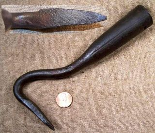 Early Hand Forged Single Tine Garden Cultivating Tool Good Shape
