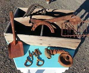 Vintage Antique Garden Box with Steampunk Tools Metal Wood Horse Shoe
