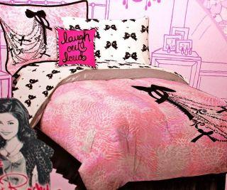 Teen Chains Bows Leopard Zebra Print Pink Black 12pc Full Comforter Bed Set