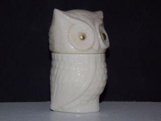 White Milk Glass Vintage Owl Glass Decanter Bottle Avon Lotion Collectibles