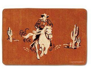 Retro Cowboy Western Bathroom Bath Mat Rug Home Decor