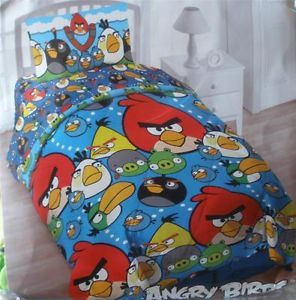 New Boys 4 PC Angry Birds Twin Comforter Sheets Pillow Case Bed in A Bag Set