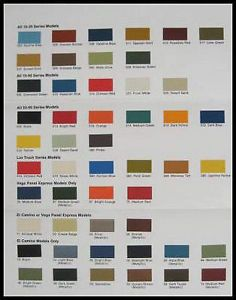1974 Chevy Chevrolet Truck Paint Chip Color Chart Orig