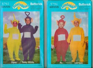 Butterick Teletubbies Childs Halloween Costume Sewing Pattern Teletubbie UC