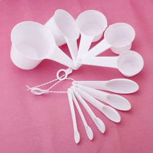 11pcs White Plastic Baking Cook Kitchen Measure Spoons Cups Tablespoon 0 6 250ml