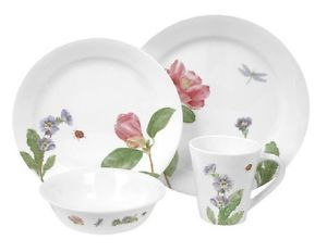 Corelle 16pc Camellia Dinnerware Set Botanical Floral Dragonfly Lady Bug New
