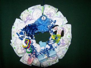 Diaper Wreath for Baby Boy Door Decoration Baby Shower Gift
