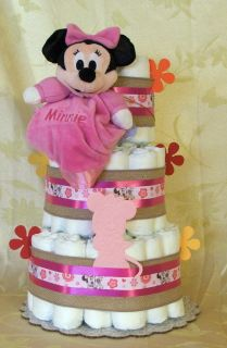 3 Tier Diaper Cake Walt Disney Minnie Mouse Baby Shower Pink It's A Girl Cocalo