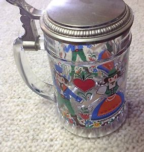 Vintage Painted Glass Metal Lid Beer Stein Mug Barware West Germany Drinkware