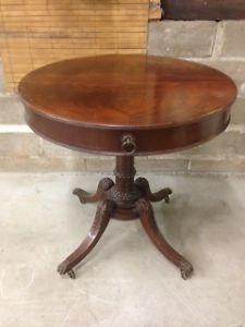 Genuine Mahogany Drum Table Authentic Grand Rapids Furniture 1942