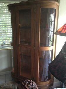 7' Antique Oak Victorian Lighted China Cabinet Dining Room Curio w Beveled Glas