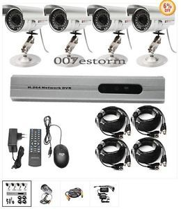 4CH CCTV DVR Security System 4 Night Vision Cameras Kit Home Garden Video Audio