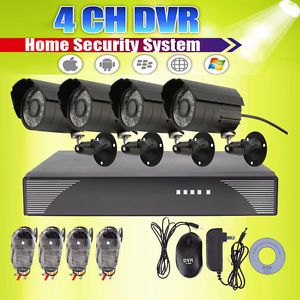4 CH CCTV DVR Kit Home Video Security System with 4 Outdoor Night Vision Cameras