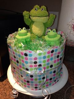 Adorable Frog Diaper Cake Baby Shower Baby Gift for Boy or Girl