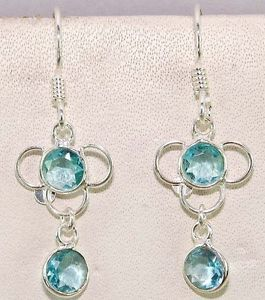 """Aquamarine 100 Pure 925 Solid Sterling Silver Earrings 1 1 2"""" inches Long"""