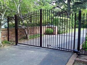 New Wrought Iron Single Driveway Gate 10ft to 12ft Long Arch Top 6 ft High
