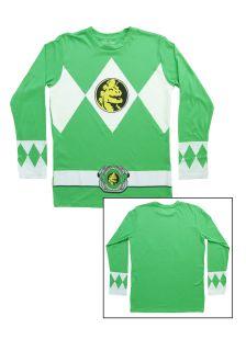 Green Power Rangers Long Sleeve Costume Shirt