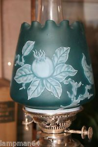 Extremely RARE English Cameo Glass Duplex Oil Lamp Shade Thomas Webb