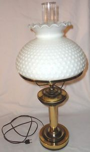 Brass Country Style Table Lamp Milk Glass Lamp Shade
