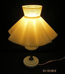 Vintage Milk Glass Hobnail Table Lamp and Shade